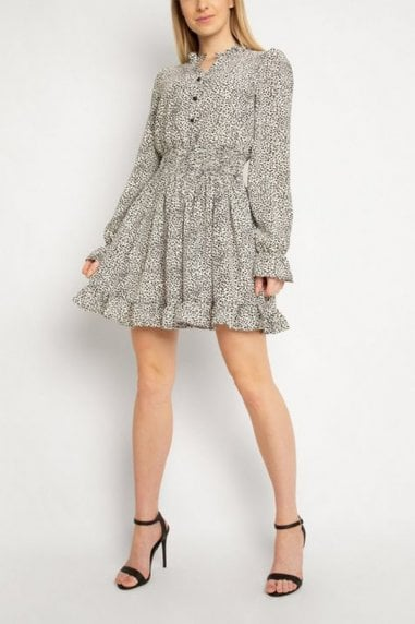 Gini London White Animal Print Puff Sleeve Dress