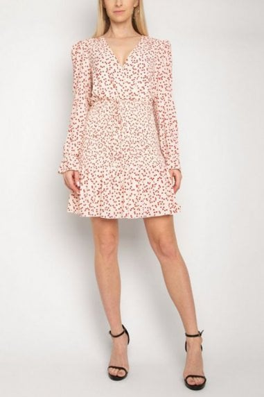 Gini London Off White Heart Print Tiered Dress