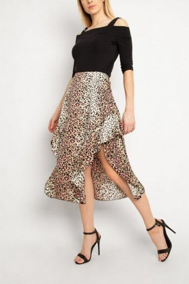 Gini London Brown Leopard Print Midi Skirt