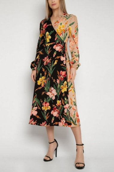 Gini London Multicoloured Floral Midi Wrap Dress