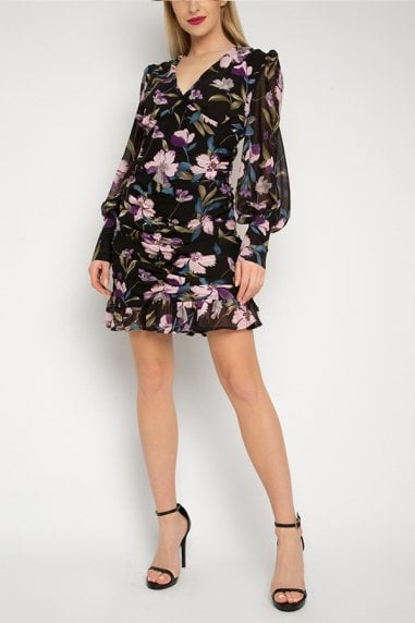 Gini London Black Floral Ruched Dress