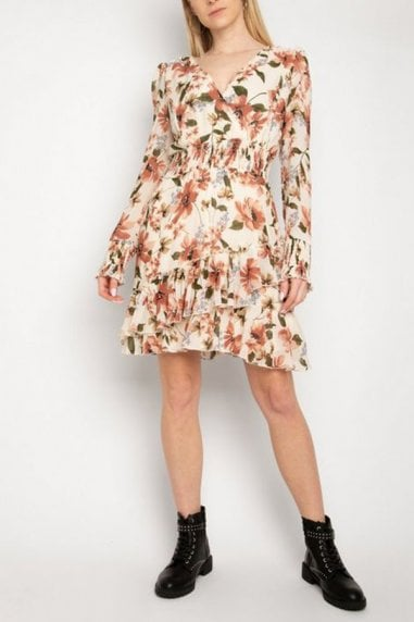 Gini London Off White Floral Shirred Waist Dress