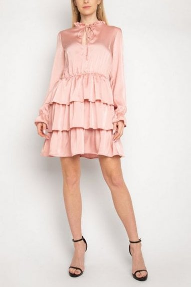 Gini London Pink Satin Frill Mini Dress
