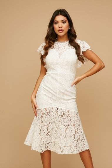Blaise White Lace Peplum Midi Dress