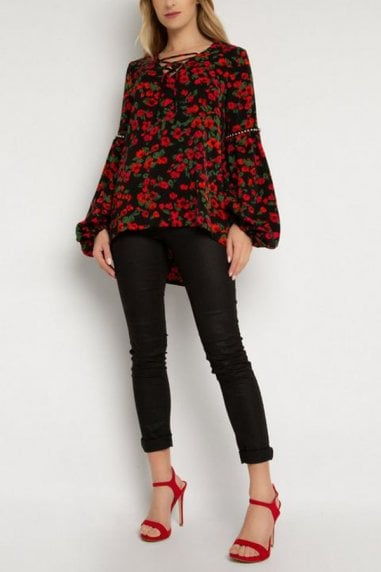 Balloon Sleeve Top In Black Floral Print