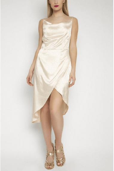 Asymmetric Satin Dress in Cream