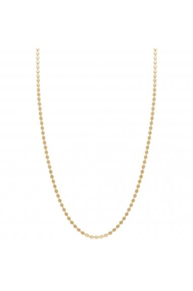 Simply Silver Sterling Silver 925 14ct Yellow Gold Flat Bead Chain Necklace
