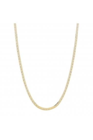 Simply Silver Sterling Silver 925 14ct Yellow Gold Diamond Cut Snake Necklace