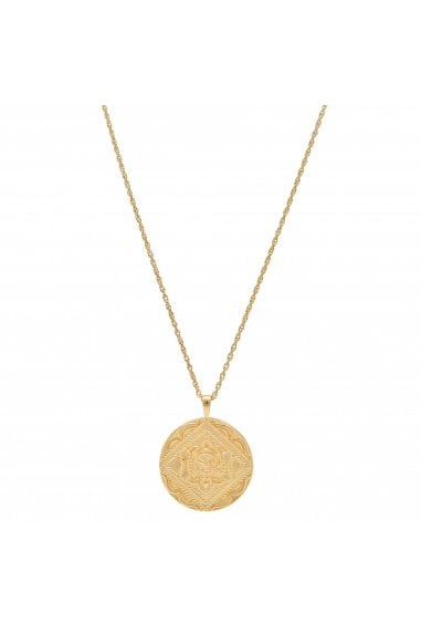 Simply Silver Sterling Silver 925 14ct Yellow Gold Embossed Round Pendant