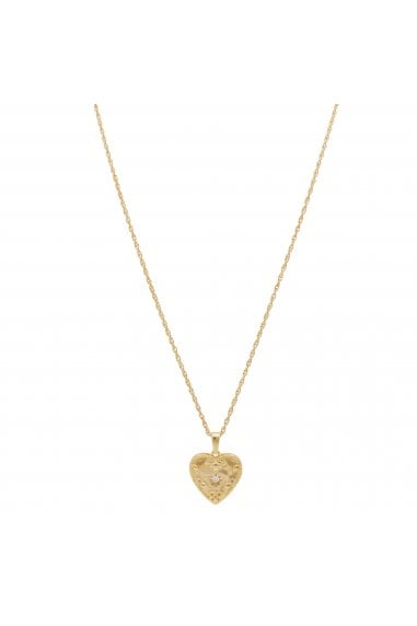 Simply Silver Sterling Silver 925 14ct Yellow Gold CZ Heart Embossed Pendant