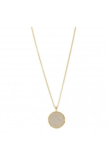 Simply Silver Sterling Silver 925 14ct Yellow Gold CZ Round Disc Pendant