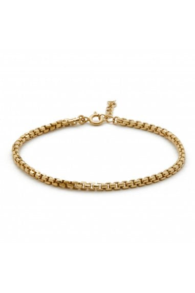 Simply Silver Sterling Silver 925 14ct Yellow Gold Box Chain Bracelet