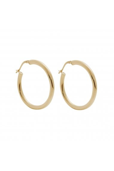 Simply Silver Sterling Silver 925 14ct Yellow Gold 30mm Tube Hoop