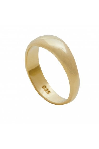 Simply Silver Sterling Silver 925 14ct Yellow Gold Polished Ring - MEDIUM