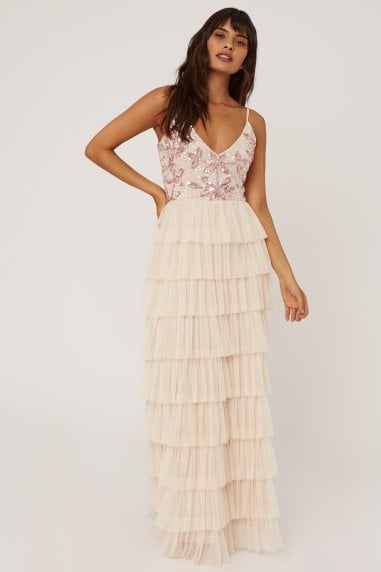 Fleur Nude Floral Sequin Tiered Hem Maxi Dress