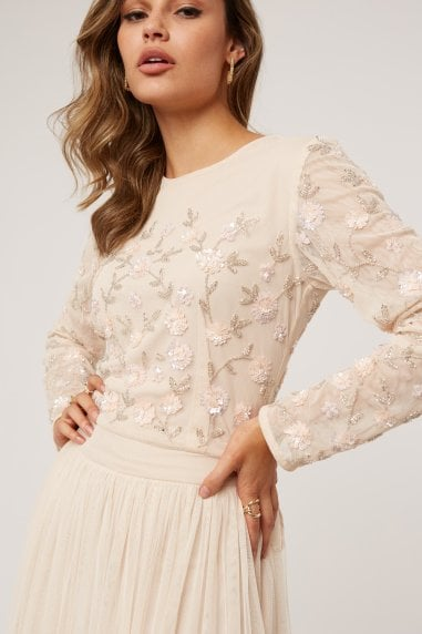 Emma Nude Floral Embellished Sequin Top Co-ord