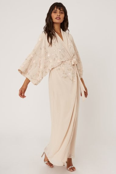 Malina Nude Floral Embellished Sequin Kimono