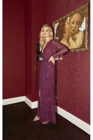 Quinn Plum Embellished Sequin Maxi Dress