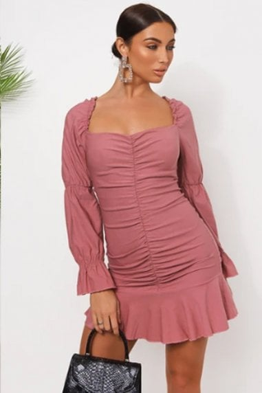 Pink Puff Sleeve Frill Hem Mini Dress
