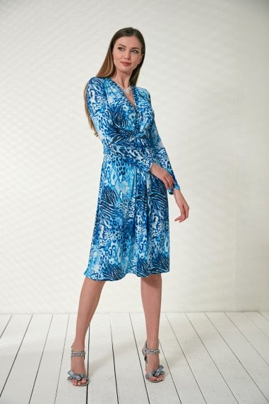 Blue Leopard Wrap Dress