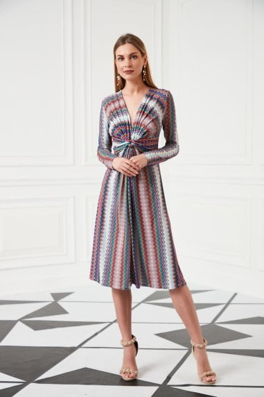 Aztec print Midi Wrap Dress