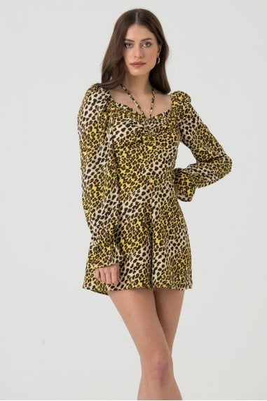 Long Sleeve Tie Front Playsuit in Yellow Leopard