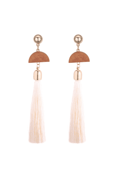 Half Moon Wooden Geometric Tassel Earrings - Cream