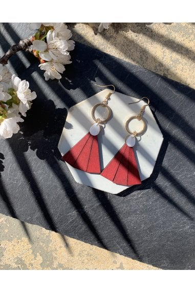 Wooden Triangle and Mother of Pearl Drop Earrings