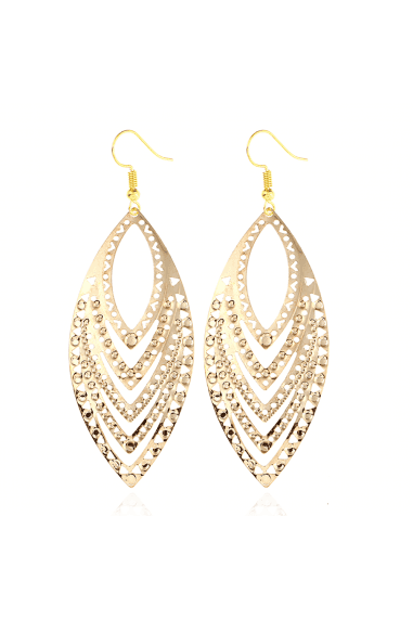 Gold Tone Cutwork Leaf Earrings