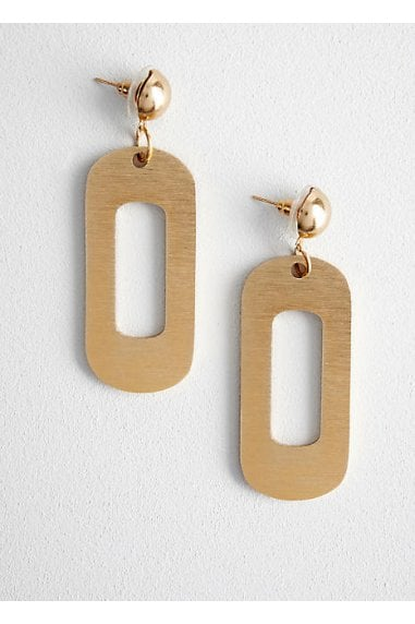 Gold Statement Oblong Earrings