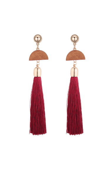 Half Moon Wooden Geometric Tassel Earrings - Burgundy