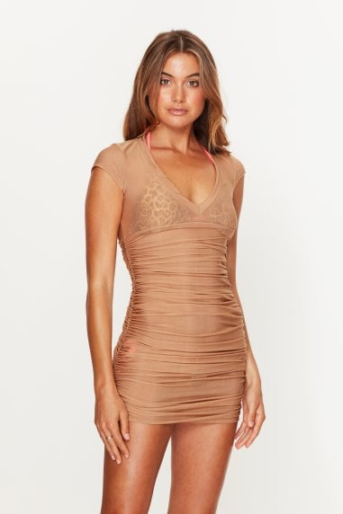 Ruched Beach Dress Gold
