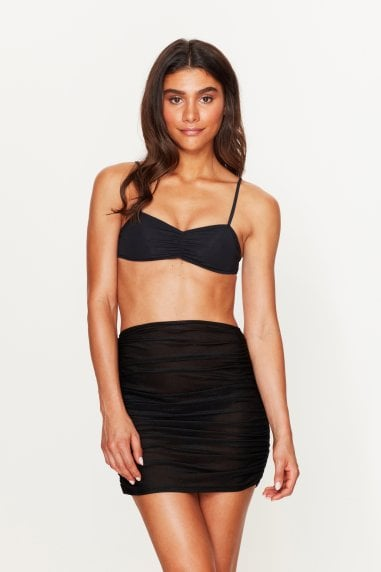 Ruched Beach Skirt Black