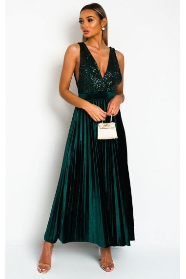 Cassandra Pleated Velvet Sequin Maxi Dress