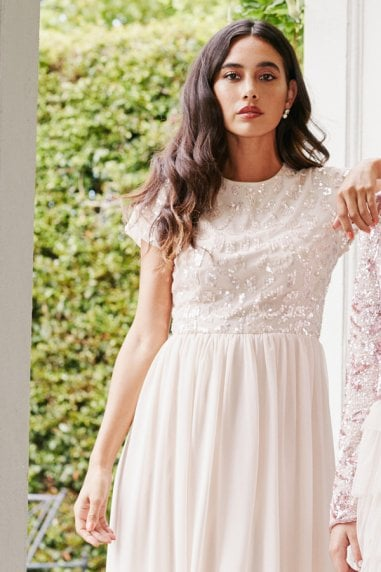 Bridesmaid Elise Nude Hand-Embellished Sequin Hi-Low Prom Dress