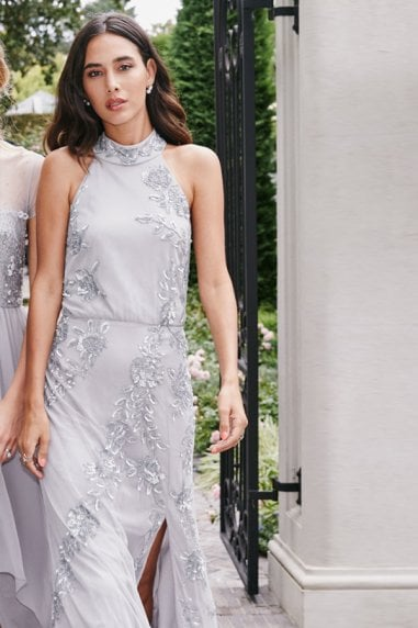 Delyla Grey Floral Sequin Maxi Dress