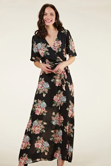 Rose Print Maxi Dress With Sleeve Detail