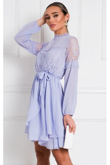 Lanah Lace Shift Dress in Lilac