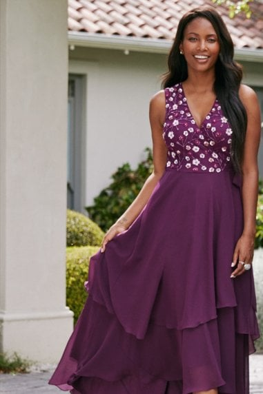 Kassidy Plum Sequin Hi-Low Maxi Wrap Dress