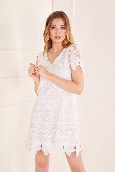V Neck Border Lace Dress