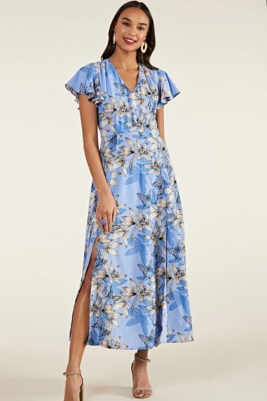 Butterfly Print Maxi Dress With Side Slit