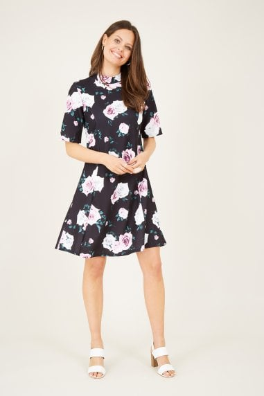 Rose Printed High Neck Dress