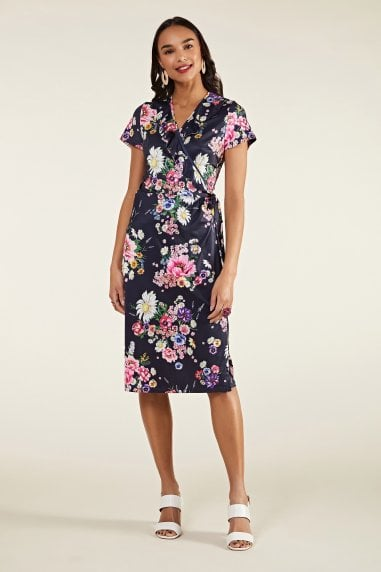 Daisy Bouquet Frill Wrap Dress