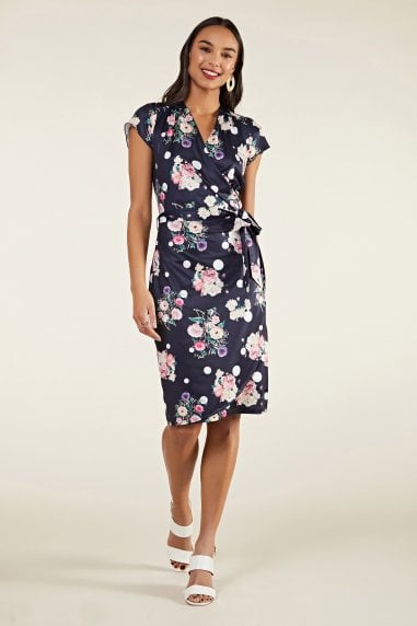 Spot And Floral Wrap Dress