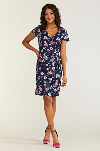 Bird And Floral Wrap Ruched Dress