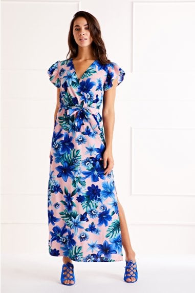 Tropical Ruffle Sleeve Maxi Dress