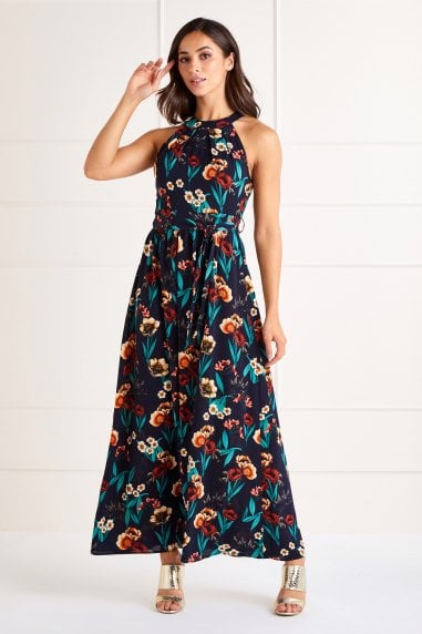 Poppy Print High Neck Maxi Dress