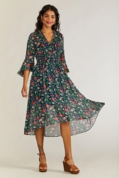 Poppy Lurex Boho Dress With Dipped Hem