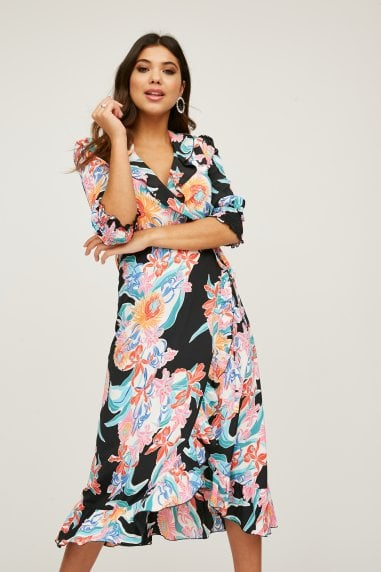 Acapulco Floral-Print Midi Wrap Dress
