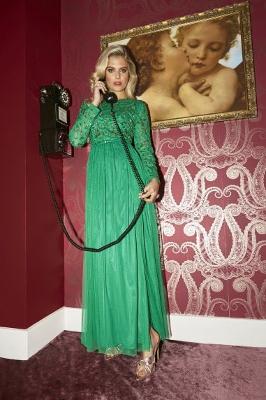Briella Forest Green Hand-Embellished Maxi Dress